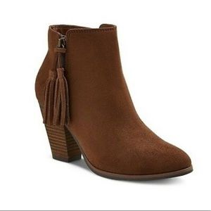 Cute brown booties with fringe detail